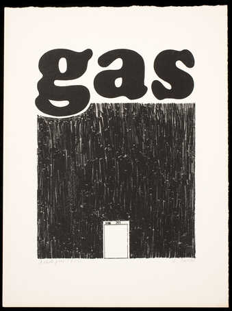 The word &quot;gas&quot; above a black square, with an image of a metal gas can bottom center.