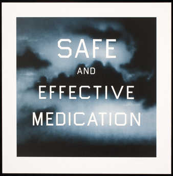 The words &quot;SAFE AND EFFECTIVE MEDICATION&quot; over a blue field
