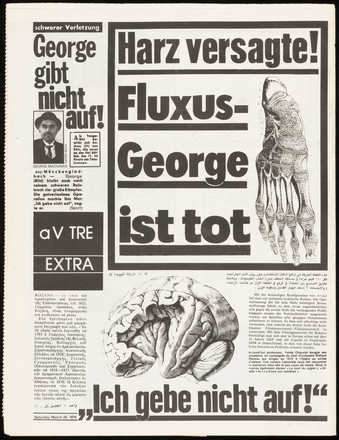 Fluxus newpaper.  Published March 24, 1979, after Maciunas' death. Black print on white...