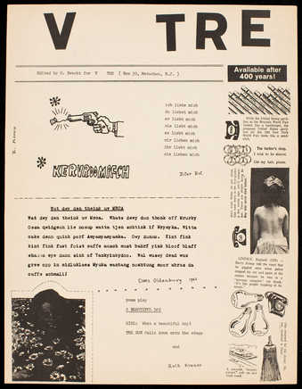 Black print on white paper; printed both sides; A pre-Fluxus publication edited, published and...