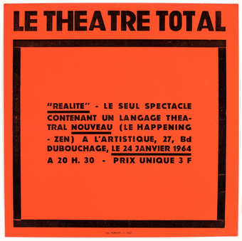 Black letterpress on red paper. Poster for an event in Nice, Jan. 24, 1964.