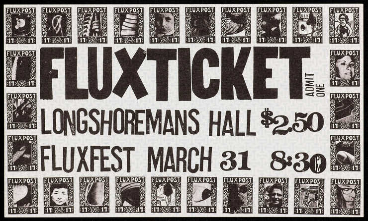 Black print on green watermark patterned paper; a ticket to Fluxfest, a festival organized by...