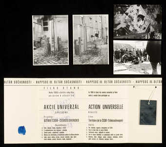 Printed folder announcing an event in Prague, 1966.  Contains 4 photos of actions two are rubber...