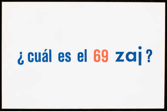 Orange and blue print on white card stock; print on both sides; text is in Spanish.