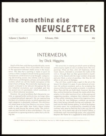 14 issues of the newsletter for Something Else Press, with essays by Higgins and others. Includes...