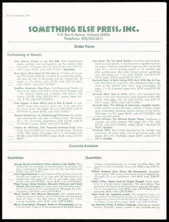 Green printing on white paper; a 6 page order form for current, forthcoming and past titles.