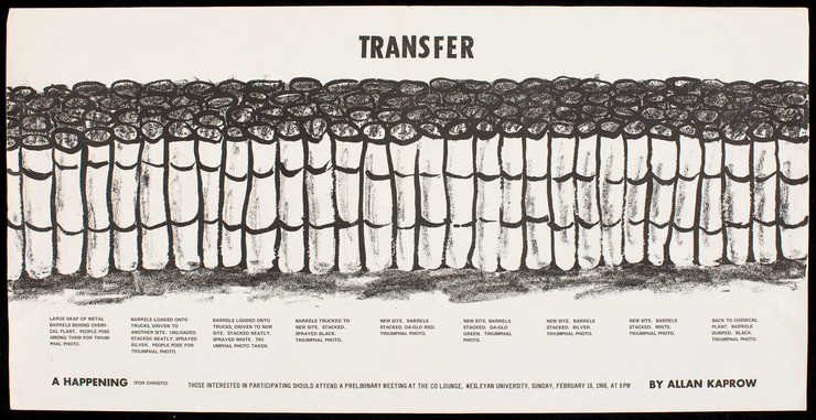 Black print on white paper.  A announcement for Transfer, a happening that involved the transfer...