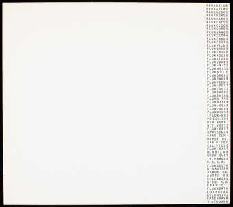 Black print on white glossy paper; stationery with text along right margin.