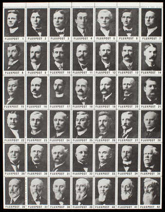 A sheet of 42 black and white stamps on gummed, perforated paper.