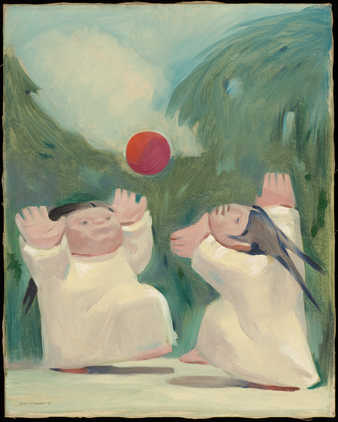 two chubby children playing ball
