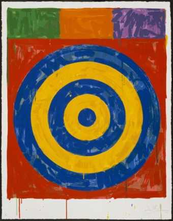 An image of a target printed in blue and yellow on a red square.  Above the square are three...