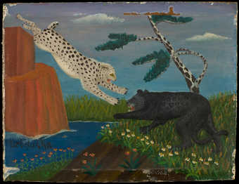 Two leopards fighting.  In the background there is a tree that resembles a giraffe