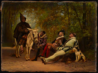 Four medieval men.  3 are dressed in noble attire and one is on a mule in a monk's robe.