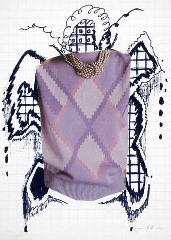 An appropriated image of an Argyle pattern sweater and pearl necklace. Hand drawn around image...