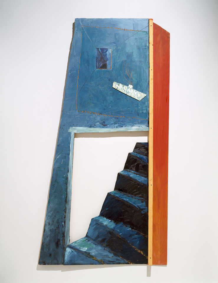dimensional wood piece with steps leading to underwater submarine.
