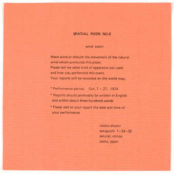 Black print on red watermark lined paper. An instruction sheet/invitation to participate in the...