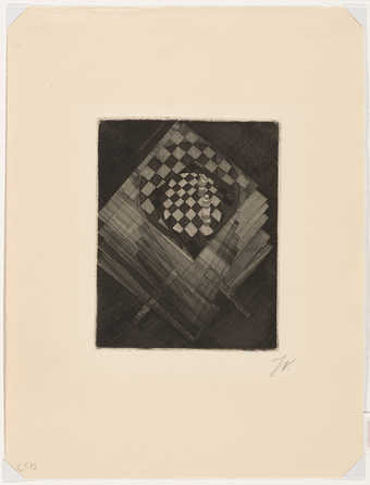 dark print in black and white with and image of a checker board