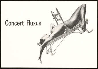 Black print on white paper, printed two sides.  An invitation/announcement to Concert Fluxus,...