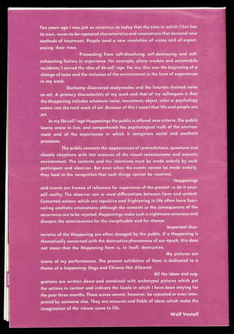Purple print on white paper; printed both sides;  A gallery announcement for an exhibition at...