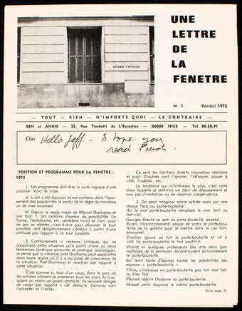 White glossy paper with black print.  The text is in French.  A handwritten message from Vautier ...
