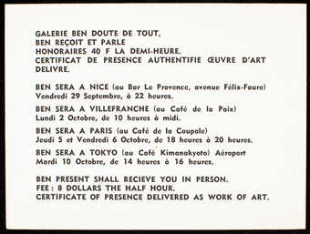 White card stock with black print; printed on both sides.  Text is in French and English.  A...