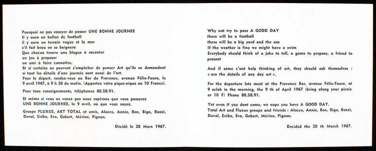 """Four color on front, text """"Fluxus Nice."""" Inside, black print on white card stock;..."""