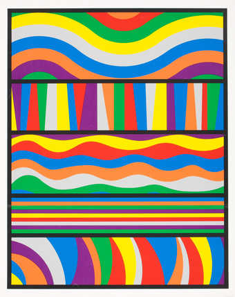 A screenprint from 9 screens. Various multicolored bands.