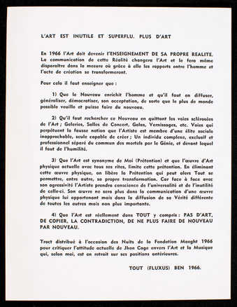 Black print on white card stock. The text is in French. Manifesto distributed at Fondation Maeght...