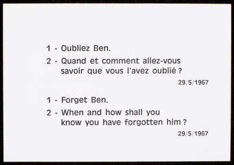 Black print on white card stock Text is in French and English. One of Vautier's 5 Ben Cards.