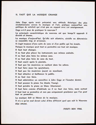 Black print on white card stock. Text is in French. A statement on music and a challenge to John...
