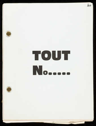 A paperback booklet with the pages held together by fasteners.  The text is in French.