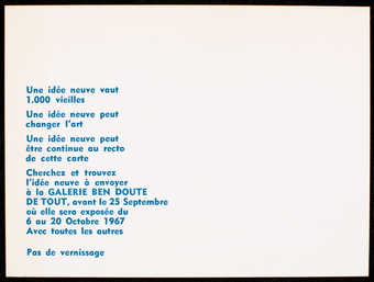 White card stock with blue print on one side.  Text is in French. Invitation to an event at...