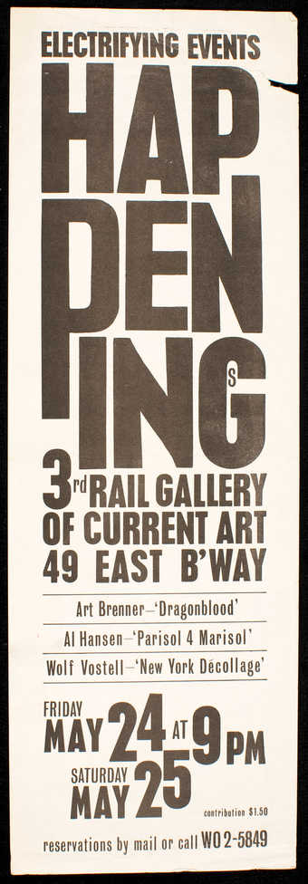 Black print on white paper; invitation/announcement to an event at 3rd Rail Gallery of Current...
