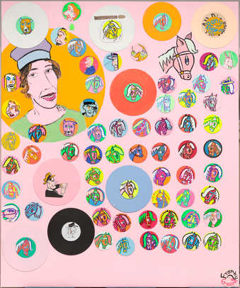 Cartoon like portraits of people and ponies painted on discs attached to a pink canvas.