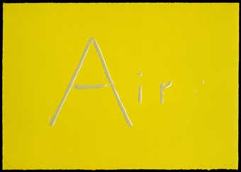 The word air spelled using liquid letters on a chartreuse background.