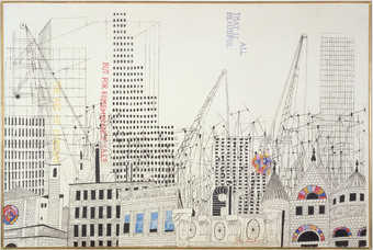 A black and white screenprinted city skyline with hand-colored additions.  Printed vertically in...